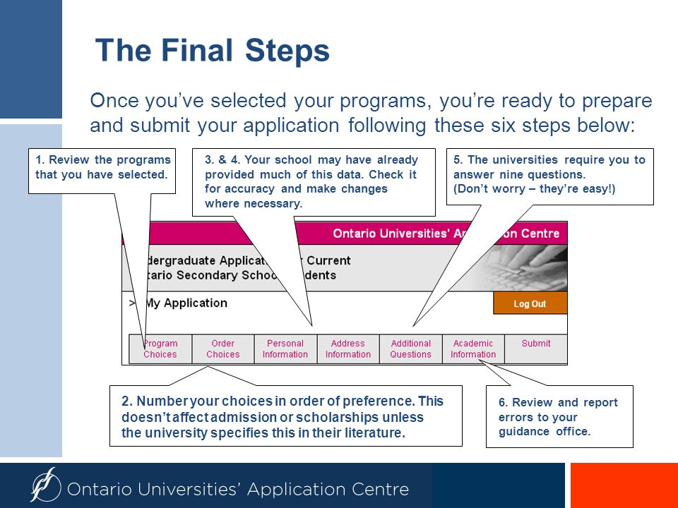 The Final Steps Once you've selected your programs, you're ready to prepare and submit your application following these six steps below: 1. Review the