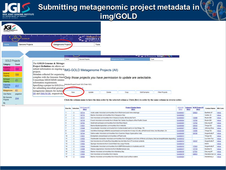 Submitting metagenomic project metadata in img/GOLD