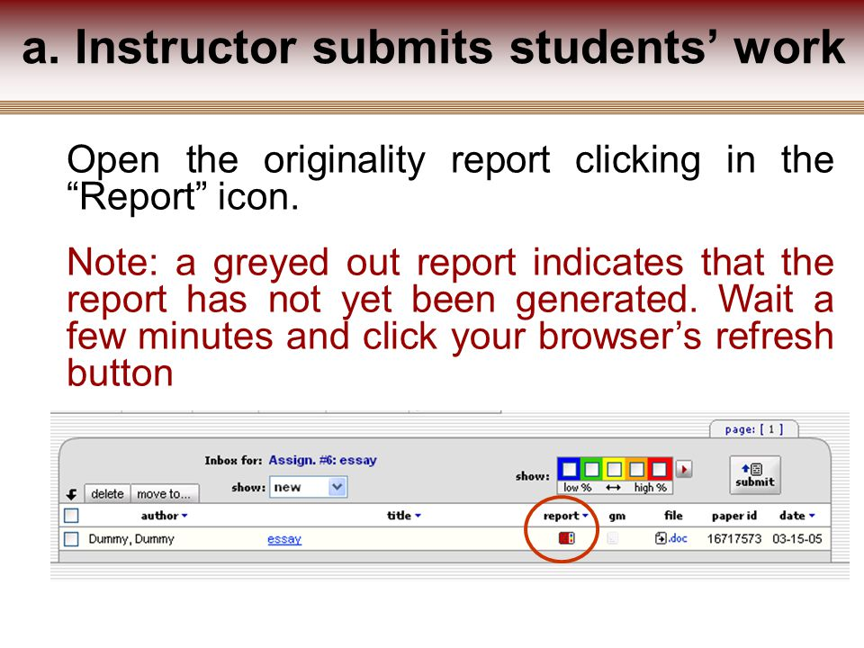 Open the originality report clicking in the Report icon.