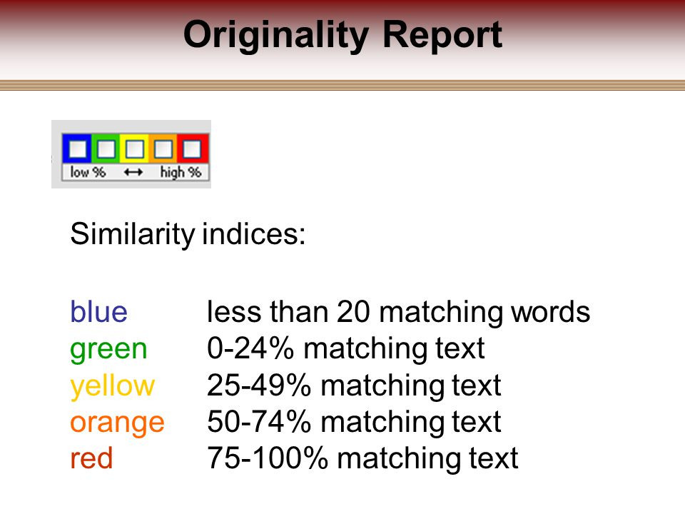 Originality Report Similarity indices: blue less than 20 matching words green 0-24% matching text yellow 25-49% matching text orange 50-74% matching text red 75-100% matching text