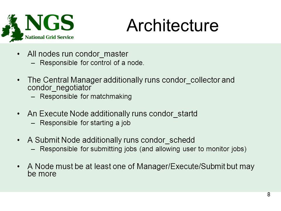 8 Architecture All nodes run condor_master –Responsible for control of a node.