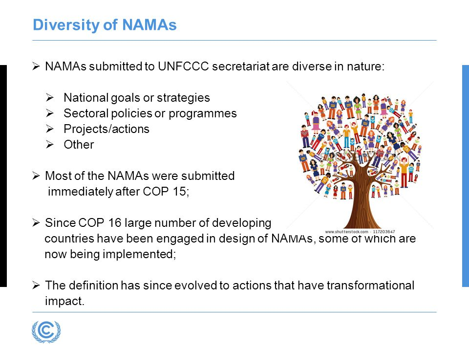 Diversity of NAMAs  NAMAs submitted to UNFCCC secretariat are diverse in nature:  National goals or strategies  Sectoral policies or programmes  Projects/actions  Other  Most of the NAMAs were submitted immediately after COP 15;  Since COP 16 large number of developing countries have been engaged in design of NAMAs, some of which are now being implemented;  The definition has since evolved to actions that have transformational impact.
