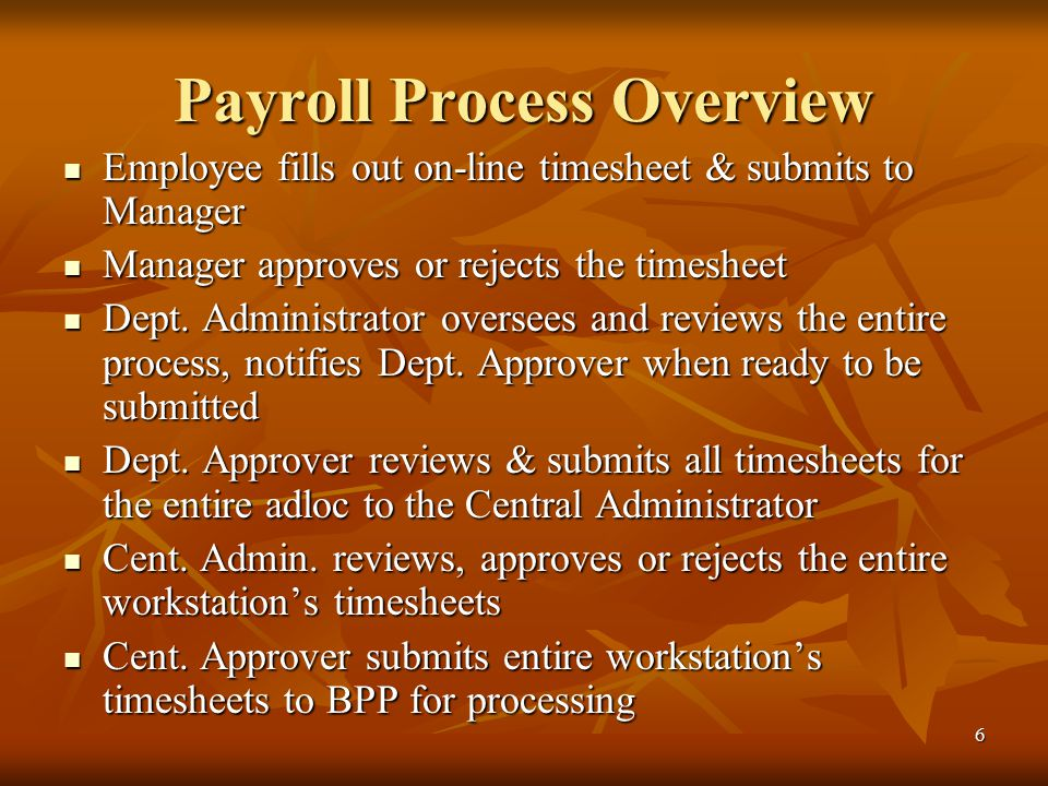 6 Payroll Process Overview Employee fills out on-line timesheet & submits to Manager Employee fills out on-line timesheet & submits to Manager Manager approves or rejects the timesheet Manager approves or rejects the timesheet Dept.