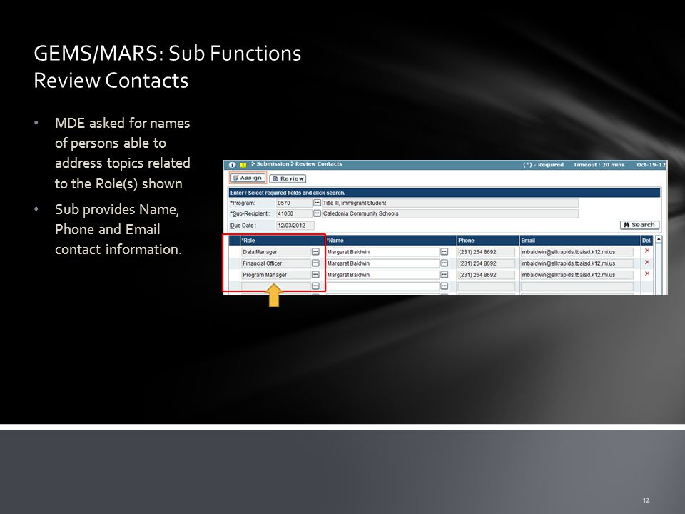 GEMS/MARS: Sub Functions Review Contacts MDE asked for names of persons able to address topics related to the Role(s) shown Sub provides Name, Phone and Email contact information.