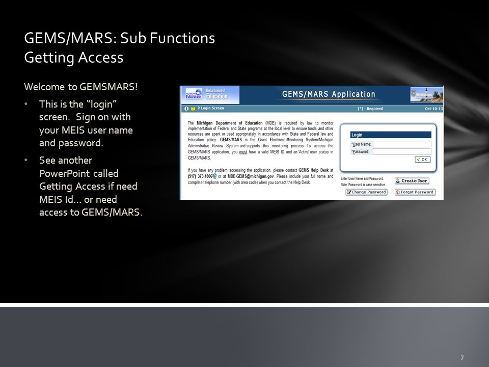 GEMS/MARS: Sub Functions Getting Access Welcome to GEMSMARS.