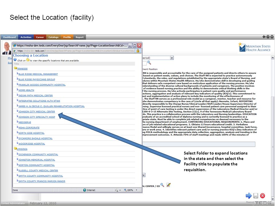 Select Folder to expand locations in the state and then select the Facility title to populate the requisition. Select the Location (facility)