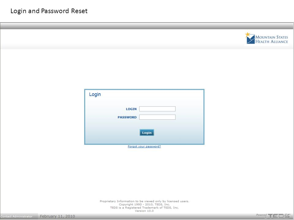 Login and Password Reset
