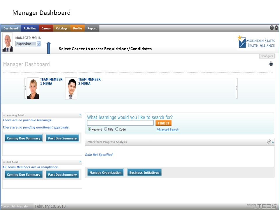 Manager Dashboard Select Career to access Requisitions/Candidates