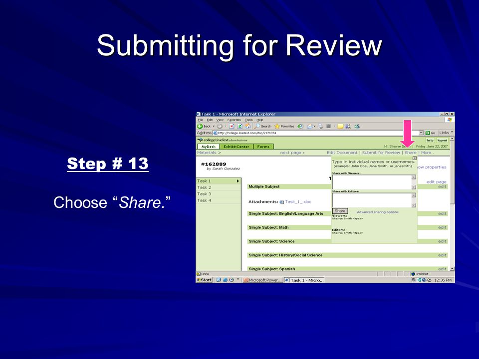 Submitting for Review Step # 13 Choose Share.
