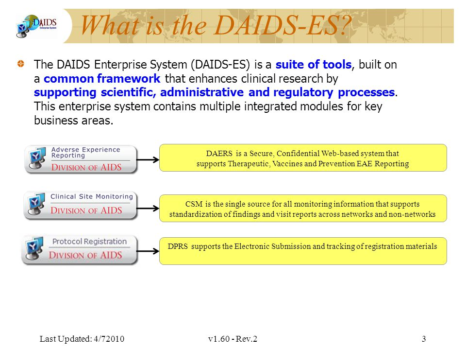 Division of AIDS Data Interchange What is the DAIDS-ES.