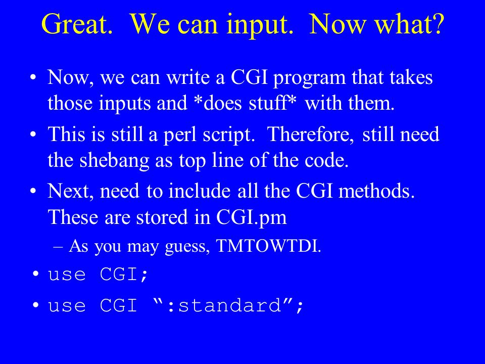Great. We can input. Now what? Now, we can write a CGI program that takes those inputs and *does stuff* with them. This is still a perl script. Theref