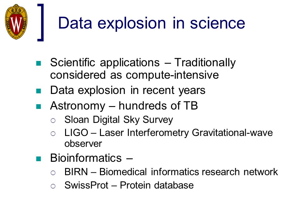 Data explosion in science Scientific applications – Traditionally considered as compute-intensive Data explosion in recent years Astronomy – hundreds