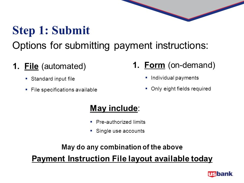1. File (automated)  Standard input file  File specifications available Options for submitting payment instructions: May do any combination of the a
