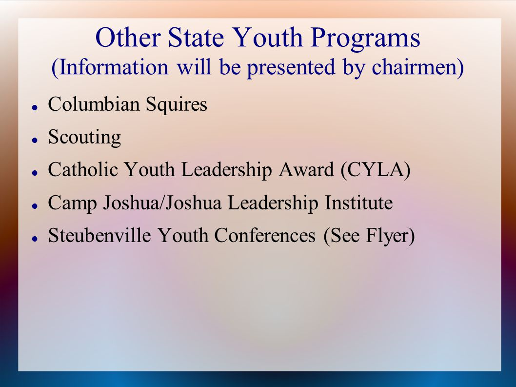 Other State Youth Programs (Information will be presented by chairmen) Columbian Squires Scouting Catholic Youth Leadership Award (CYLA) Camp Joshua/Joshua Leadership Institute Steubenville Youth Conferences (See Flyer)