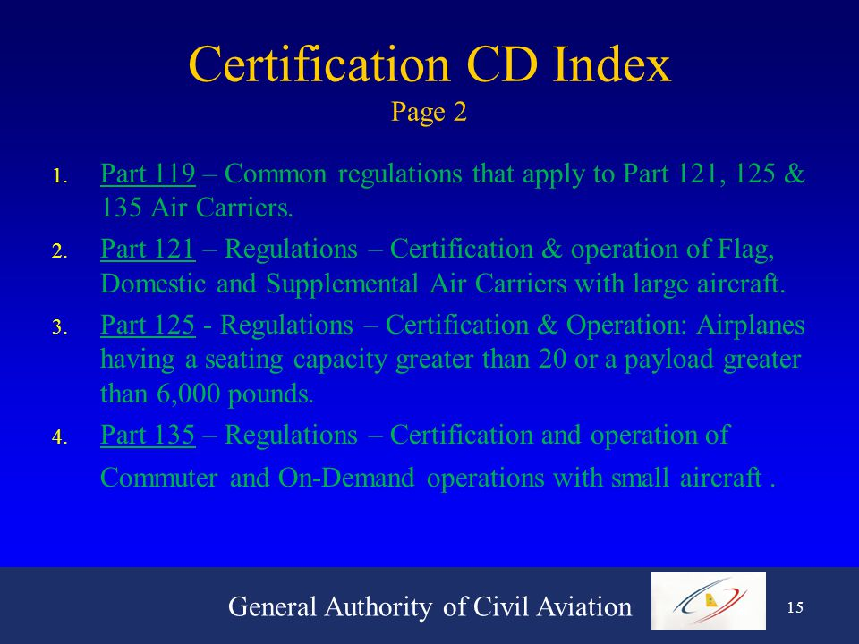 General Authority of Civil Aviation 14 Certification CD Index Page 1 1.
