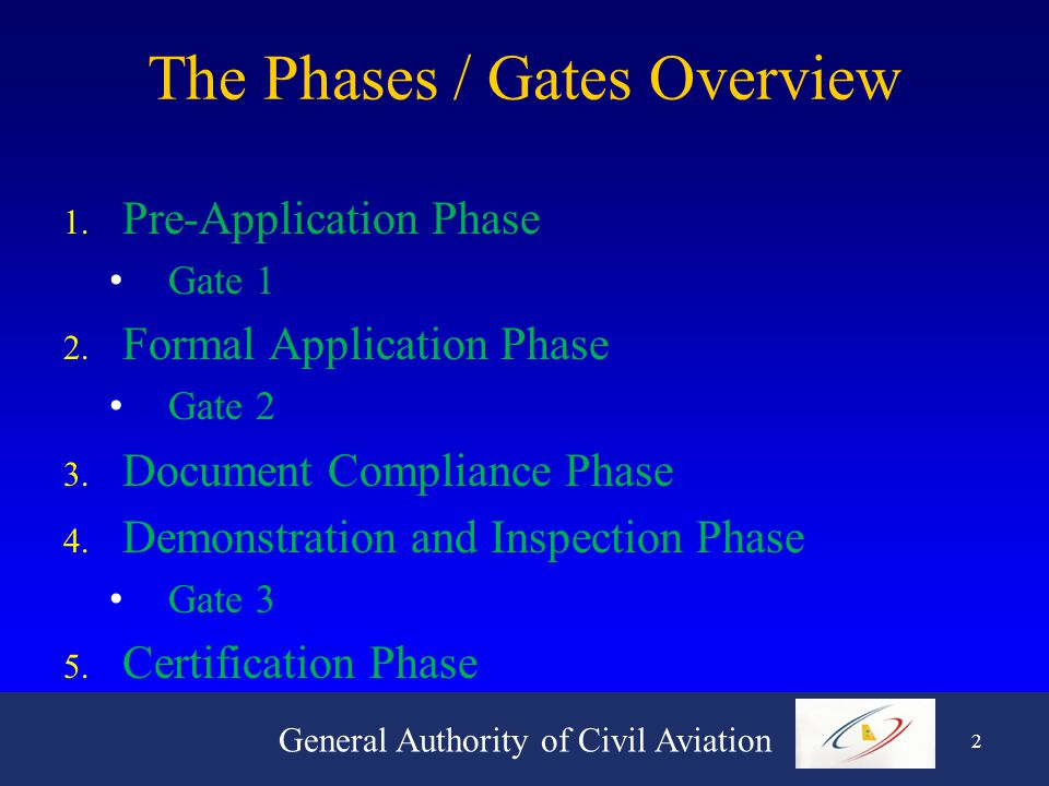 General Authority of Civil Aviation 12 Certification Phase 1.