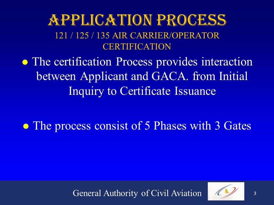 General Authority of Civil Aviation 3 APPLICATION PROCESS 121 / 125 / 135 AIR CARRIER/OPERATOR CERTIFICATION l The certification Process provides interaction between Applicant and GACA.