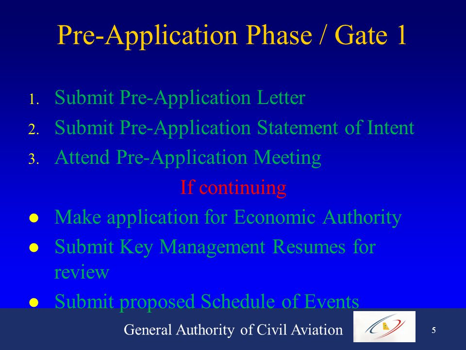 General Authority of Civil Aviation 4 The Phases / Gates Overview 1.