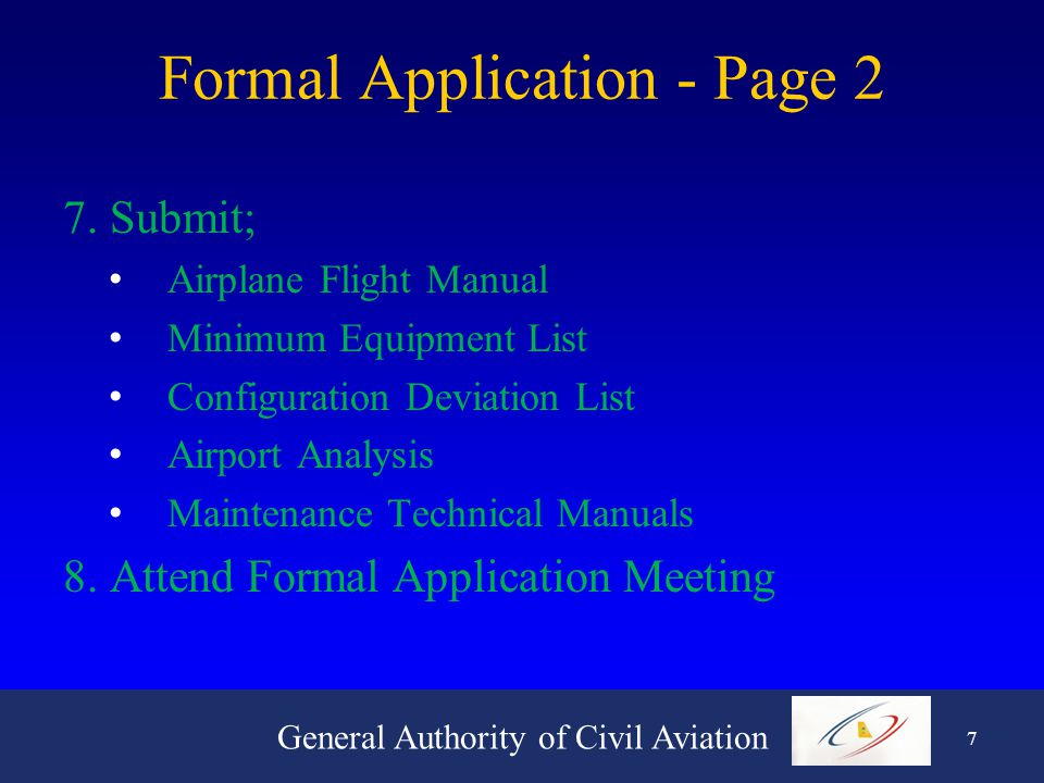 General Authority of Civil Aviation 7 Formal Application - Page 2 7.