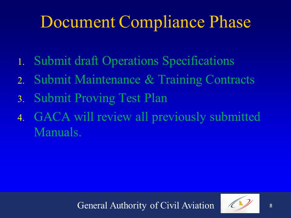 General Authority of Civil Aviation 8 Document Compliance Phase 1.