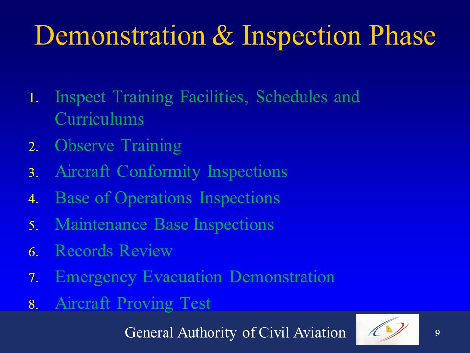 General Authority of Civil Aviation 9 Demonstration & Inspection Phase 1.