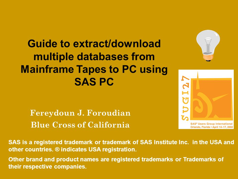 Introduction Create and Submit Mainframe Jobs more efficiently using SAS PC User enters program specification (SAS PC PROC FSEDIT) Specification transmitted (SAS PC PROC Upload) Code is generated and submitted (SAS TSO session)