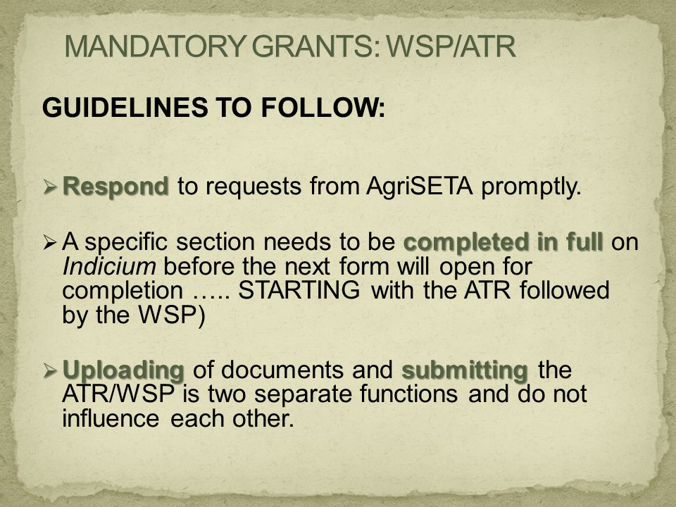GUIDELINES TO FOLLOW:  Respond  Respond to requests from AgriSETA promptly. completed in full  A specific section needs to be completed in full on