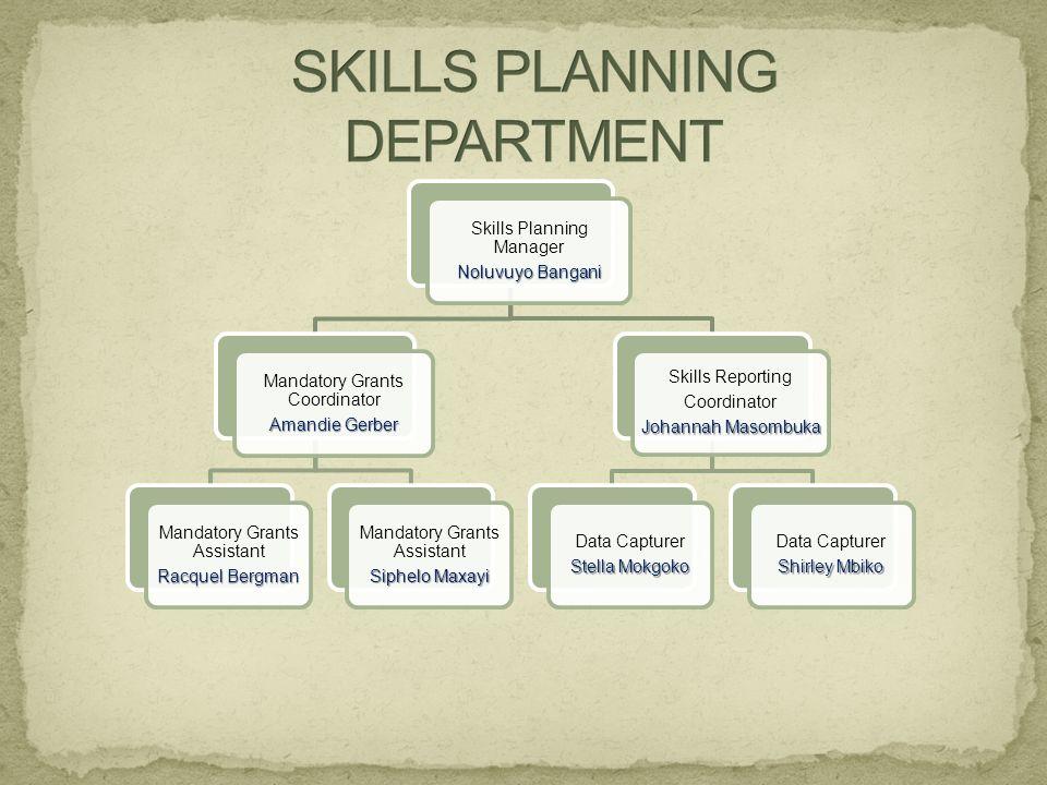 Skills Planning Manager Noluvuyo Bangani Mandatory Grants Coordinator Amandie Gerber Mandatory Grants Assistant Racquel Bergman Mandatory Grants Assis