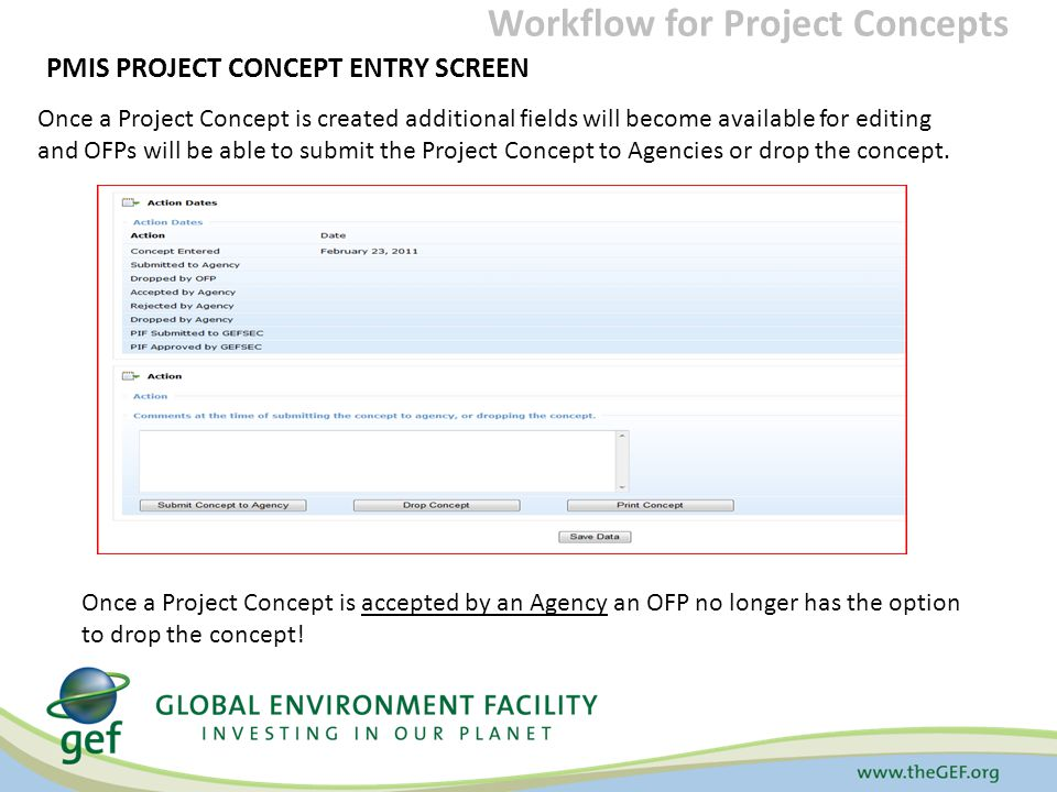 PMIS PROJECT CONCEPT ENTRY SCREEN Once a Project Concept is created additional fields will become available for editing and OFPs will be able to submit the Project Concept to Agencies or drop the concept.