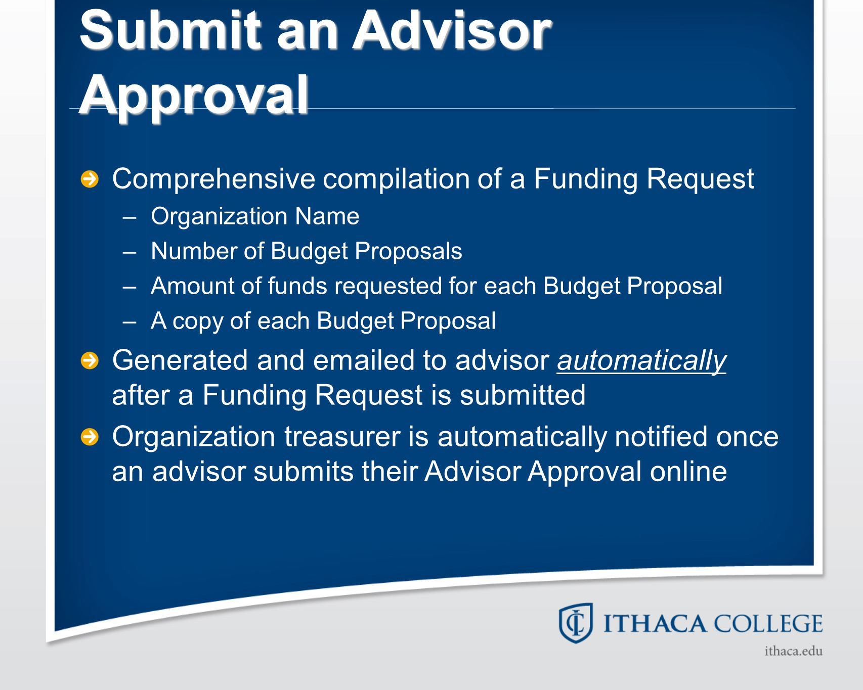 Submit an Advisor Approval Comprehensive compilation of a Funding Request –Organization Name –Number of Budget Proposals –Amount of funds requested fo