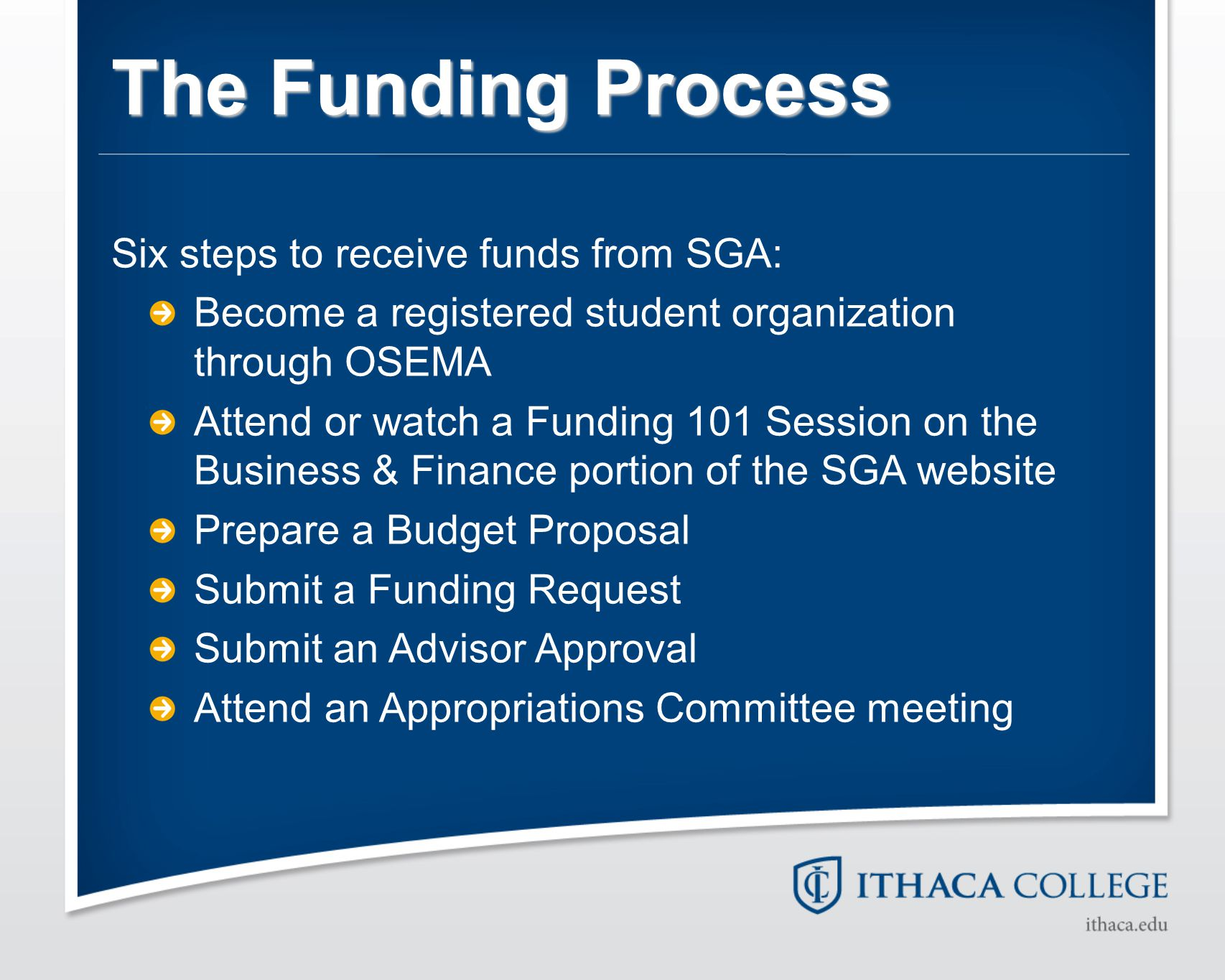 The Funding Process Six steps to receive funds from SGA: Become a registered student organization through OSEMA Attend or watch a Funding 101 Session