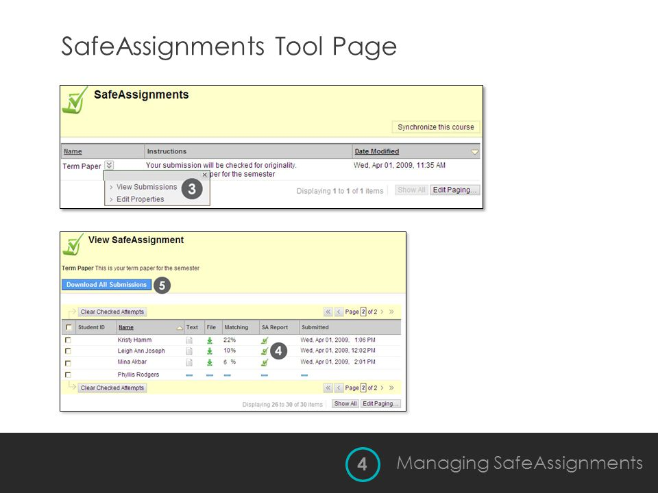 SafeAssignments Tool Page 4 Managing SafeAssignments