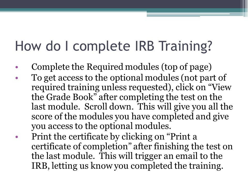 How do I complete IRB Training.