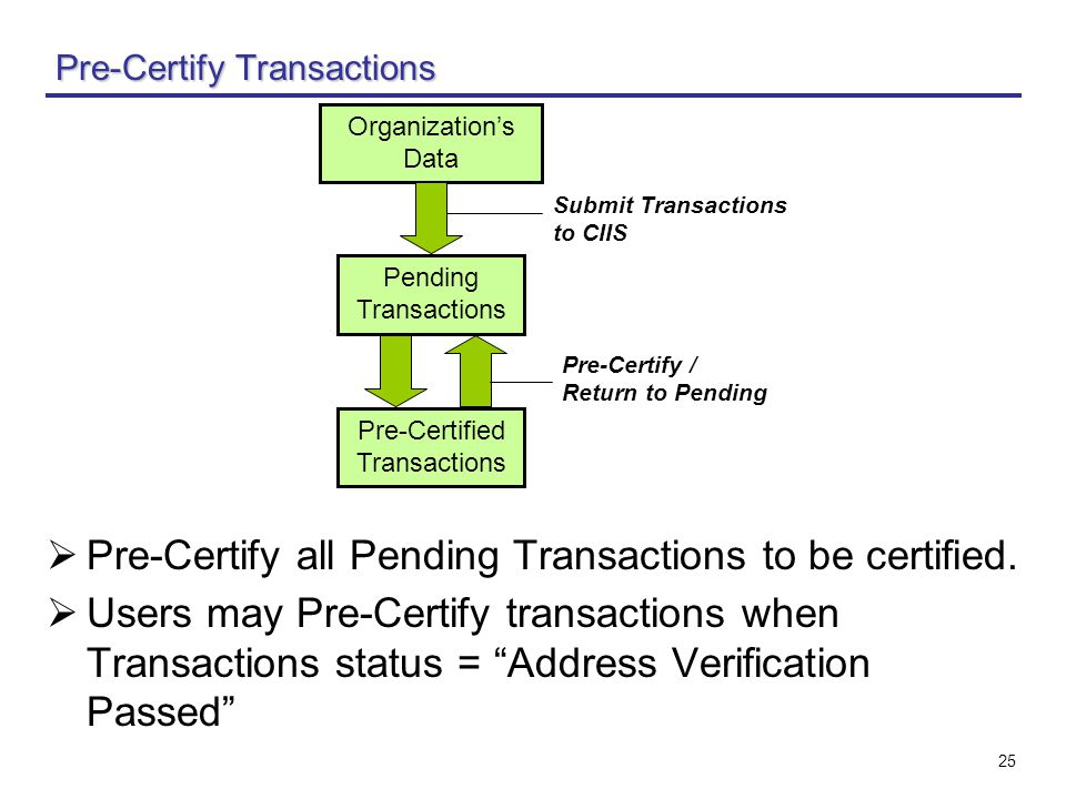 "25 Pre-Certify Transactions  Pre-Certify all Pending Transactions to be certified.  Users may Pre-Certify transactions when Transactions status = ""A"