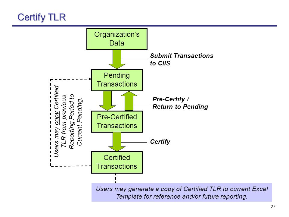 27 Certify TLR Pending Transactions Pre-Certified Transactions Certified Transactions Users may copy Certified TLR from previous Reporting Period to C