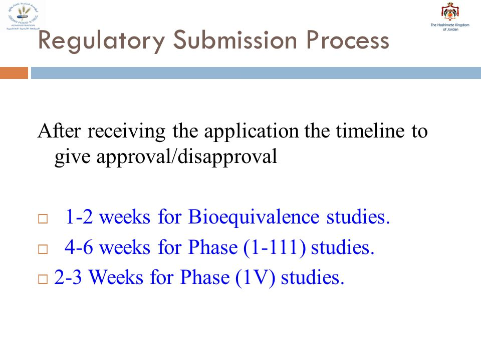 Regulatory Submission Process After receiving the application the timeline to give approval/disapproval  1-2 weeks for Bioequivalence studies.
