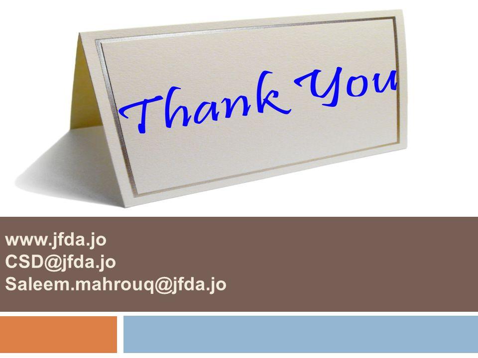 www.jfda.jo CSD@jfda.jo Saleem.mahrouq@jfda.jo