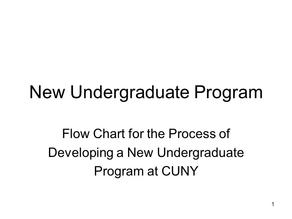1 New Undergraduate Program Flow Chart for the Process of Developing a New Undergraduate Program at CUNY