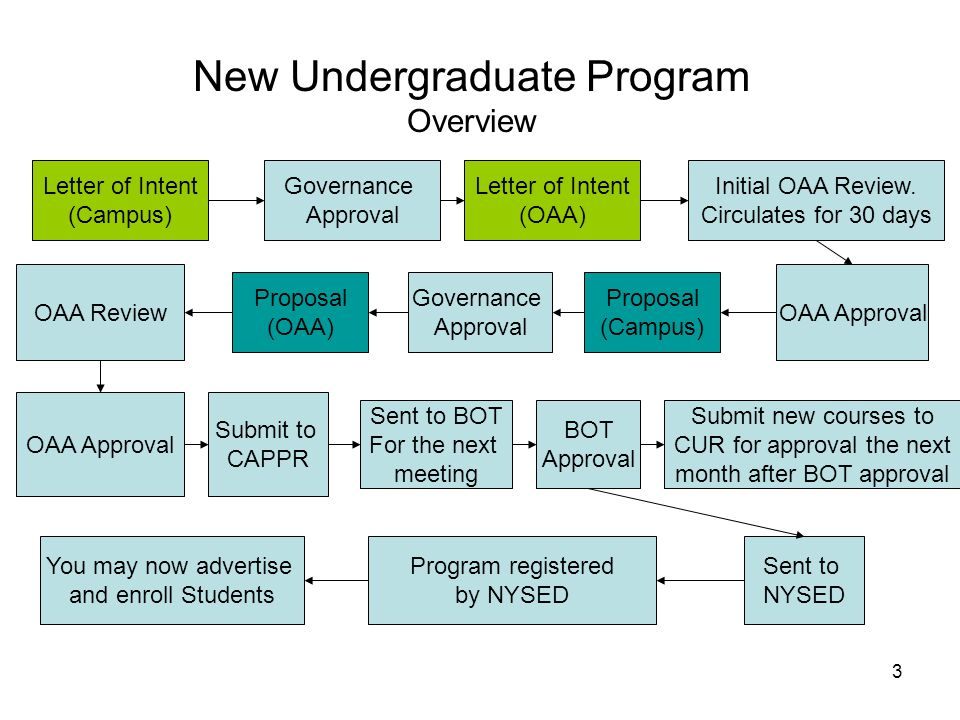 3 New Undergraduate Program Overview Letter of Intent (Campus) Proposal (Campus) Initial OAA Review.