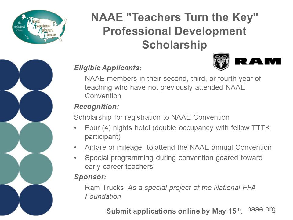 NAAE Teachers Turn the Key Professional Development Scholarship Changes in TTTK Program for 2015 States may submit only one application per state.
