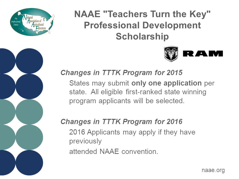 For more information about all NAAE award programs Contact NAAE at 1-800-509-0204 or visit naae.org