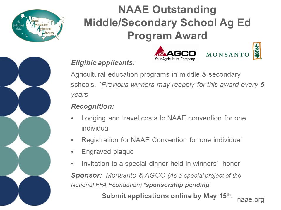 NAAE Outstanding Middle/Secondary School Ag Ed Program Award Eligible applicants: Agricultural education programs in middle & secondary schools.