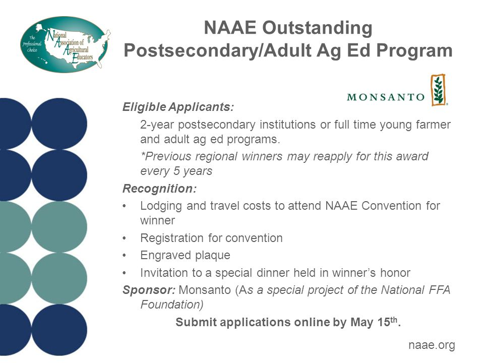 NAAE Ideas Unlimited Award Eligible Applicants: Any current NAAE member with an outstanding teaching idea *Must have been a member for 3 years previous to application or since he/she began teaching Recognition: Registration for the NAAE Convention Engraved plaque $400 travel stipend to attend NAAE convention and present a professional development workshop about their award-winning idea Sponsor: National Geographic Learning | Cengage Learning Submit applications to NAAE office via email by May 15 th *Region 1 must submit by April 1.