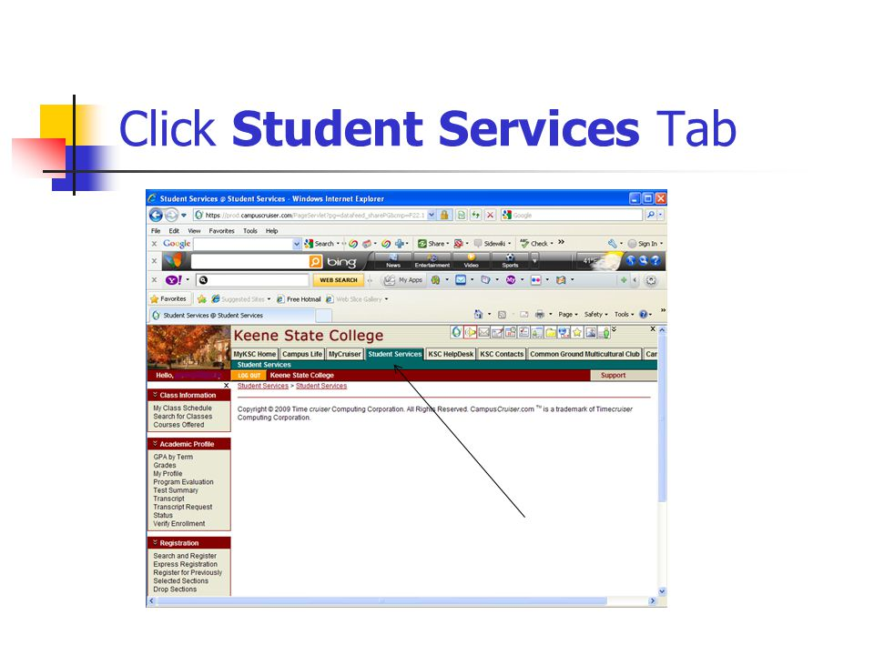 Click Student Services Tab
