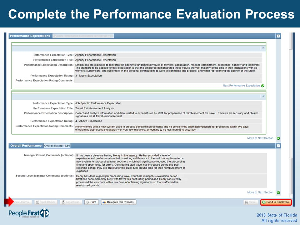 2013 State of Florida All rights reserved Complete the Performance Evaluation Process