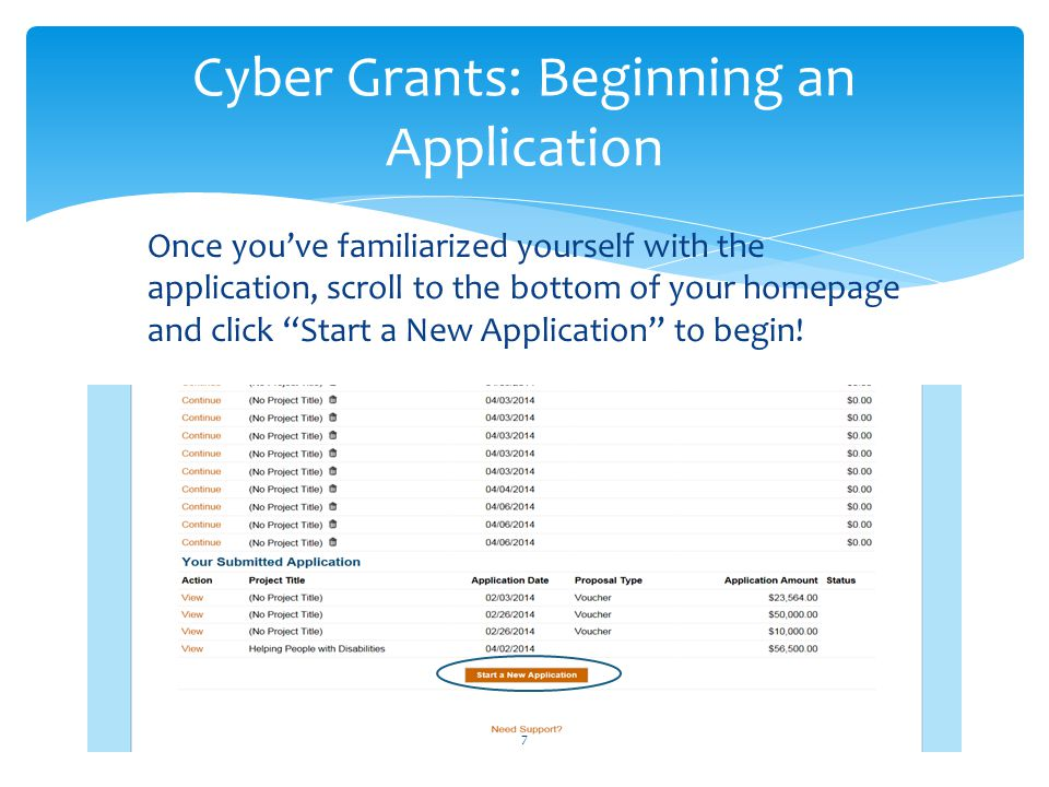 "Once you've familiarized yourself with the application, scroll to the bottom of your homepage and click ""Start a New Application"" to begin! Cyber Gran"