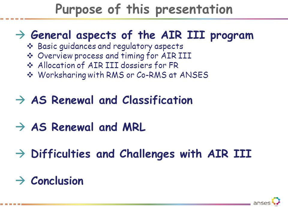 General aspects of the AIR III program
