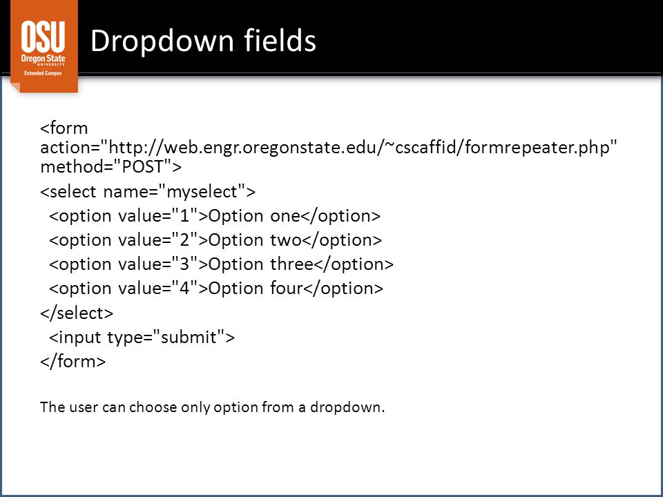 Dropdown fields Option one Option two Option three Option four The user can choose only option from a dropdown.