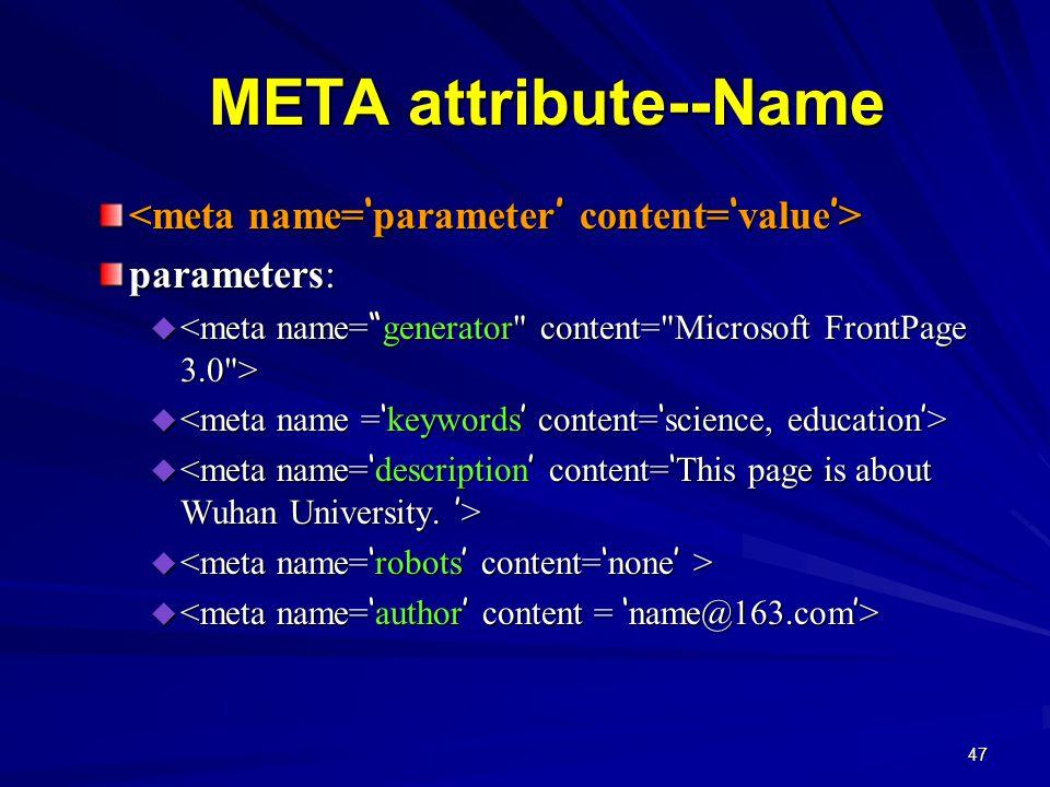47 META attribute--Name parameters:  