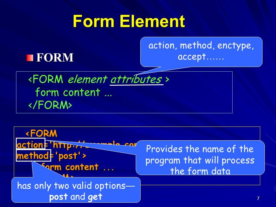 7 Form Element FORM form content... form content...
